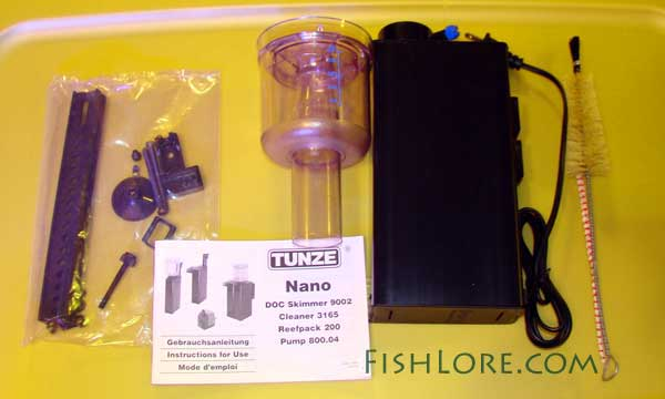 Parts that come with the Tunze Protein Skimmer